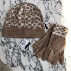 NWT! Coach camel monogram hat and gloves set